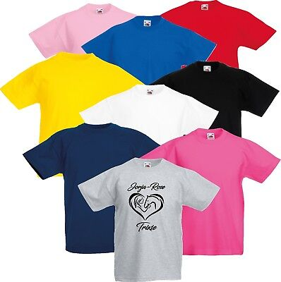 Personalised Kids Horse Riding Equestrian Pony Love Heart Name T Shirt
