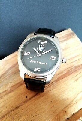 BMW Mens Watch Stainless Steel Black Leather Strap Black Dial