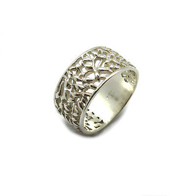 Sterling silver ring floral band solid hallmarked 925 R001875 Empress
