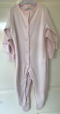 Ex Store Baby Girls Pink Stripe 2 Pack Sleepsuits Babygrow Age 3/6 Months