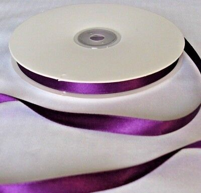 Full Reel of Purple Double-sided Satin Ribbon in 3mm 10mm 16mm 25mm Widths