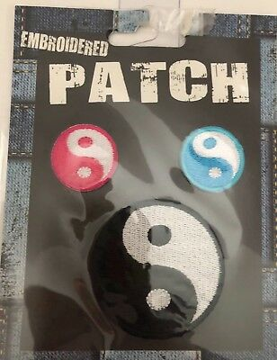YIN YANG embroidered iron-on PATCH karate ying tai chi MARTIAL ARTS appliqué Set