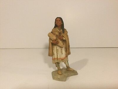 CASTAGNA - Native American Indian with baby in arm  - Ground Alabaster Figurine