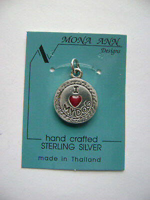 Sterling Silver I Love My Dog Red Stone Hart Heart Pendant New