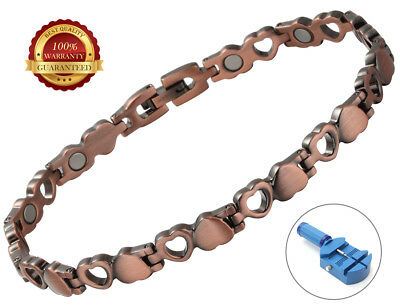 Ladies Kupfer Magnetisch Health Armband 12 Magnete Heart Bangle Healing Therapy