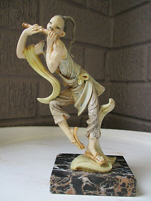Asian Figure Statue Playing Flute marble Base
