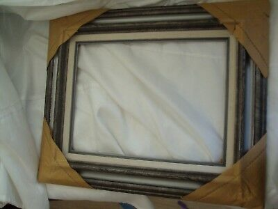 Vintage Modern 1968 Spanish Baroque Carved Wood SILVER Picture Frame 12x16
