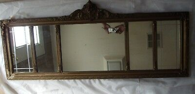 """Ornate Antique Style Vintage Gold Gilt ?Rococo Baroque? Etched Mirror 46"""" X 15"""""""