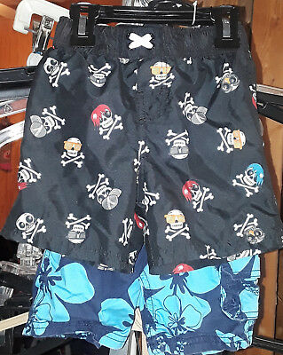 2 Items-Boy's Lot Of 2 Swimming Trunks-Aqua/navyblue-Black/skulls-Size-18 Months