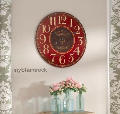 """Large Wall Clock French Vintage Style Antique Look 23"""" Big Rustic Red Wood Face"""
