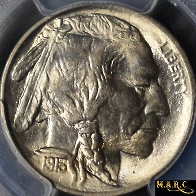 1913 MS66 Type-I PCGS 5C Buffalo Nickel, Brilliant! Blue CAC approval sticker!