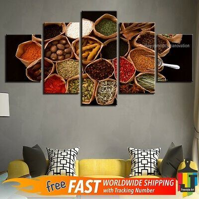5 Pieces Home Decor Canvas Print Wall Art Food Spices Abstract Colorful Poster