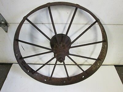 "Vintage Primitive Steel Spoke Wagon Wheel 30"" X 4"""