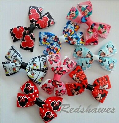 MINNIE / MICKEY MOUSE Character Hair Bow clip or bobble. Handmade in UK!