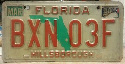 1990 Florida Hillsborough County license plate tag NO RESERVE!!!! $0.99