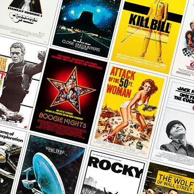BEST VINTAGE CLASSIC MOVIE POSTERS PRINTS - A4 - A3 - A2 - Bullitt, Rocky, Mask