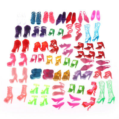 80 pieces of randomly different Barbie Doll high heels, boots, shoe accessories