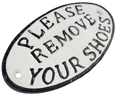 Please Remove Your Shoes - Small Oval Cast Iron Sign Plaque