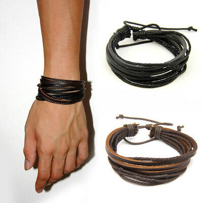 Men Women Fashion Punk Wrap Multilayer PU Leather Braided Rope Bracelet Jewelry