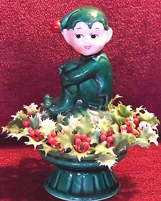 VTG 1950 INARCO Ceramic Sweet Seated Green Holly Pixie Elf E-2506