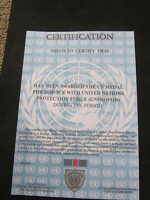 Un United Nations Unprofor Medal Certificate - Quality Item