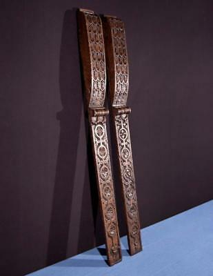"""*38"""" Large Pair of French Antique Trim Posts/Pillars Highly Carved Oak Salvage"""