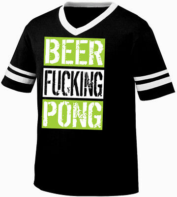 Beer F***ing Pong College Fraternity Frat Red Cup Alcohol Retro Ringer T-shirt