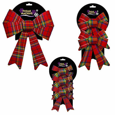 Christmas Tree Decoration - Red Tartan Woven Bow - Choose Pack and Size