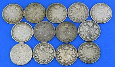11 Canada 1901-1913 Sterling Silver Dime 10 Cent Coin Lot Victoria Edward George