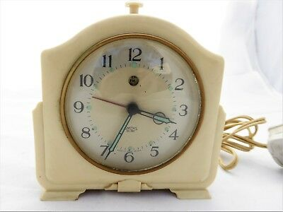 VINTAGE Working SMITHS Sectric Electric Alarm Clock Cream BAKELITE 1940's