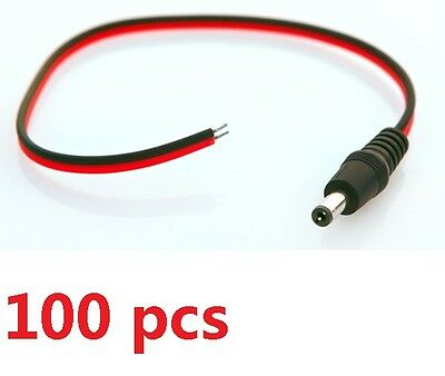 100 x CCTV Male Power Pigtails Plug Lead Cord Wire RG59 Coax For CCTV Camera
