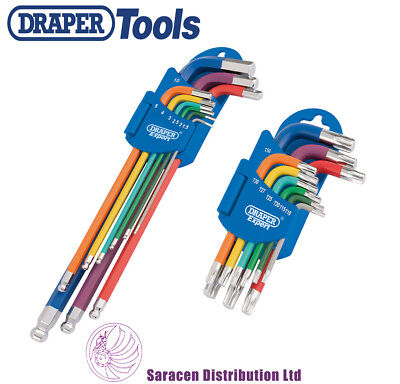 Draper Coloured Hex/allen Key & Trx Key Set Bundle - 66134 & 66135