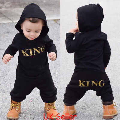 "Newborn Infant Baby Boys ""KING"" Hooded Romper Bodysuit Jumpsuit Clothes Outfits"