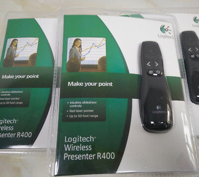 New PRO Logitech Wireless R400 Remote Presenter Control With Red Laser Pointer