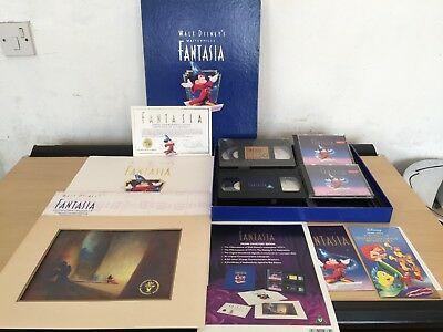 Walt Disney Fantasia Collectors Edition Lithograph Print Vhs Deluxe Box Set
