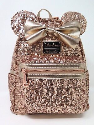 Disney Parks Loungefly Rose Gold Sequin Minnie Mini Backpack Purse Bag WDW Bow