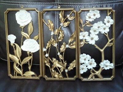 Vintage Set 3 1955 SYROCO Rose Dogwood Holly Picture Wall Hanging Plaques