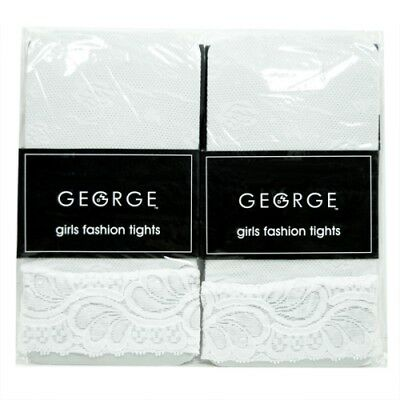 George Girls Fashion Tights Lightweight Color White With Lace Cuff Size 4 To 6