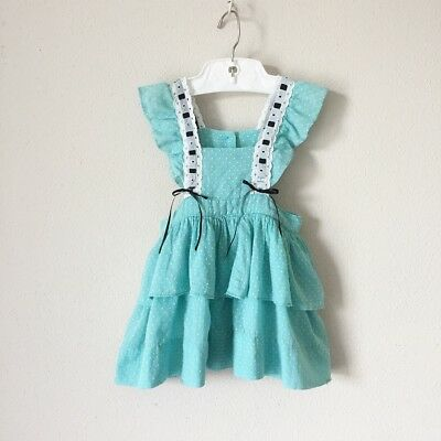 Vintage RARE 1940s Teal Swiss Dot Green  Pinafore Dress 50s 40s 18 Months 1 Year