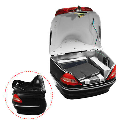Motorcycle Trunk Box W/Taillight Fit For Honda Yamaha Suzuki Kawasaki Cruiser