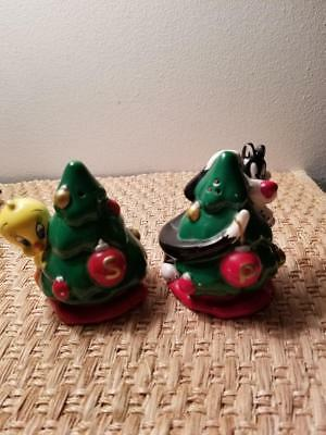 "Looney Tunes Tweety and Sylvester Christmas Salt and Pepper Shakers 4"" Tall"