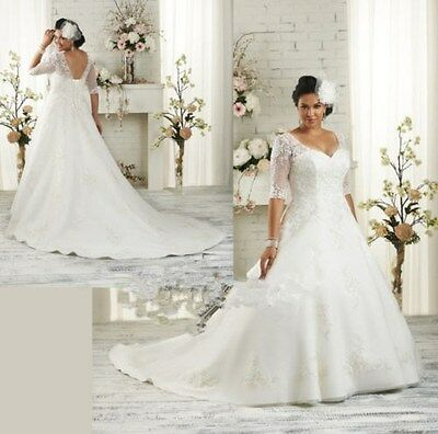 Plus Size Half Sleeve Wedding Dress Bridal Gown Stock size14.16.18.20.22.24.26