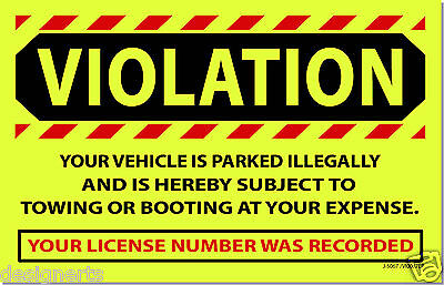 YVI 10 Yellow VIOLATION Illegally Parked Tow Towing No Parking Auto Car Stickers