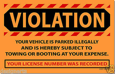 OVI 10 Orange VIOLATION Illegally Parked Tow Towing No Parking Auto Car Stickers