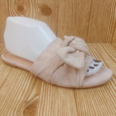 11110cba2c02e0 NEW TORY BURCH Annabelle Bow Slide Perfect Blush Kid Suede (48210 ...
