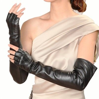 Womens Genuine Soft Nappa Leather half finger Long Party Gloves On Sale #140