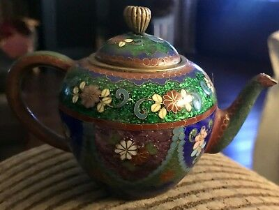 Antique Japanese Cloisonne and Enamel Tea Pot Meji Period