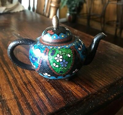 Antique Japanese Cloisonne and Enamel Butterfly Tea Pot Meji Period