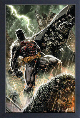 BATMAN RAIN 13x19 FRAMED GELCOAT DC COMICS BRUCE WAYNE ROBIN JOKER GOTHAM CITY!!