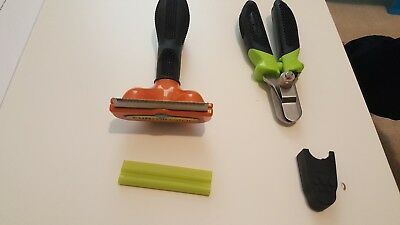 Furminator deShedding Tool Medium Dogs with Short Hair & Nail Clippers Combo